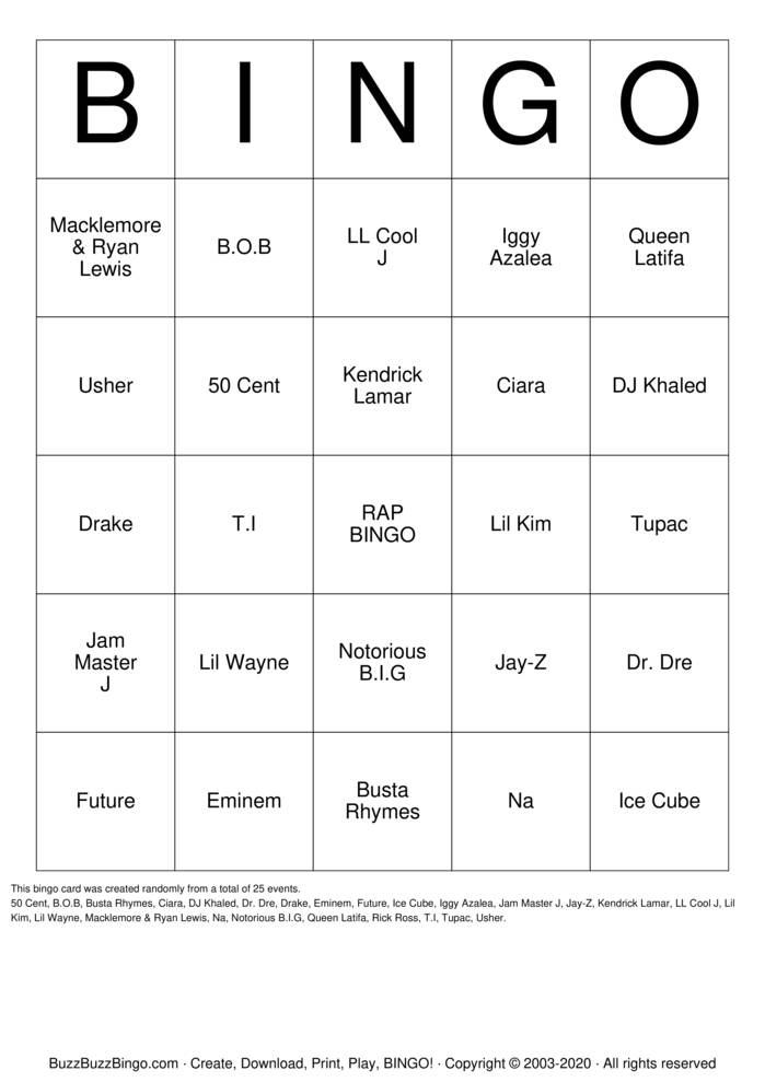 Download Free R-A-P (Artists) Bingo Cards