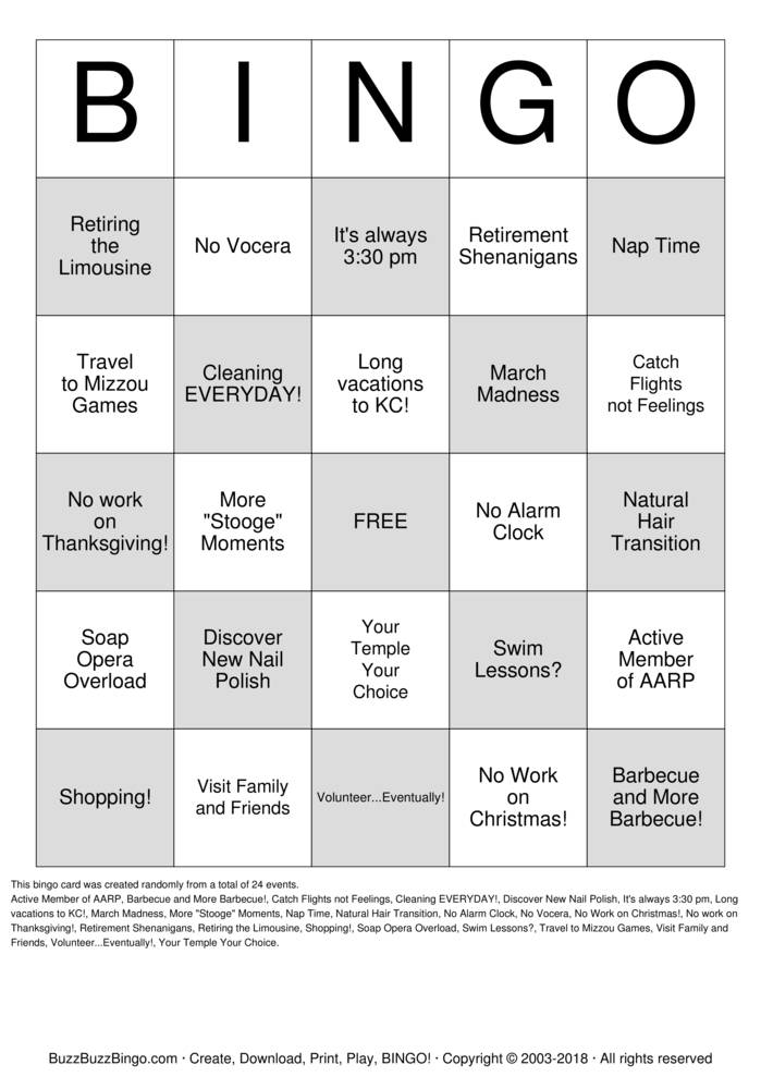 Download Retirement Bingo-CSF Bingo Cards
