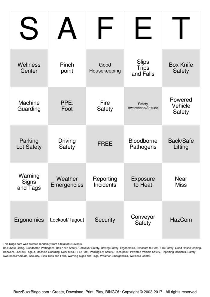 Download SAFE-T Bingo Cards