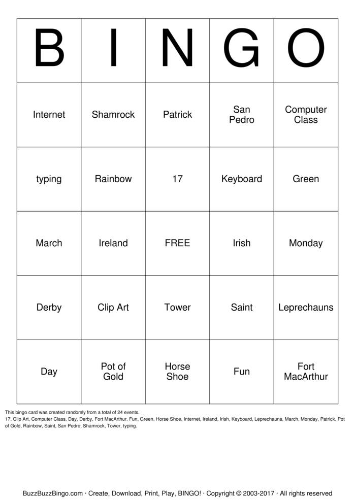 St Patrick Day Bingo Cards to Download, Print and Customize!