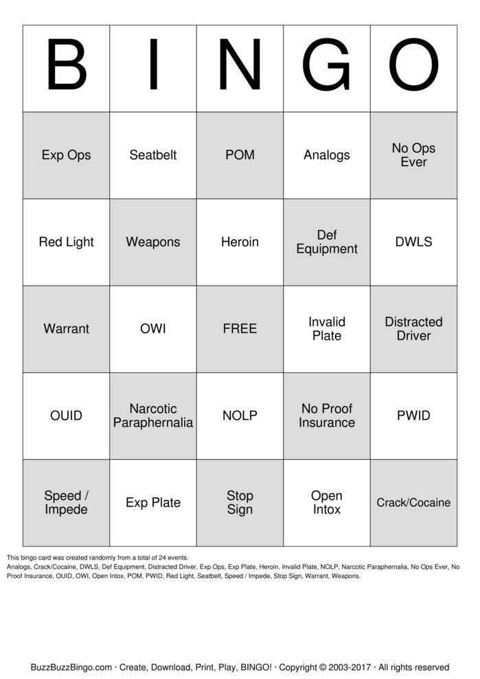 Download Free Traffic Stop Bingo Bingo Cards