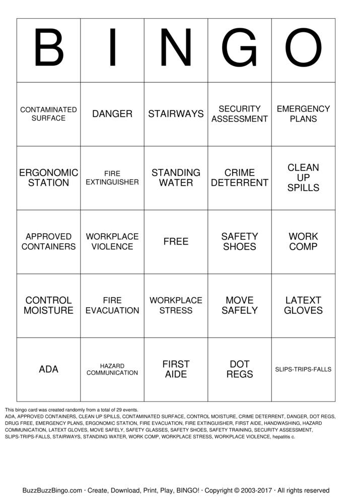 Workplace Safety Bingo Card