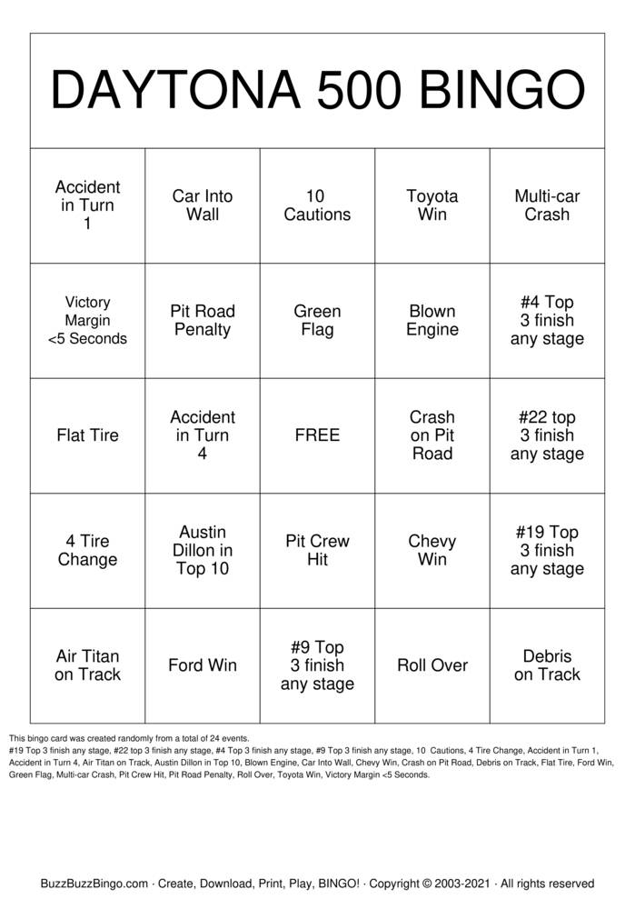 Download Free DAYTONA 500 Bingo Cards