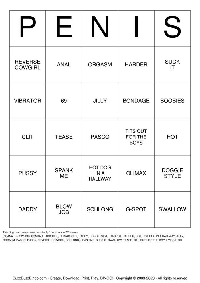 Download Free PENIS Bingo Cards