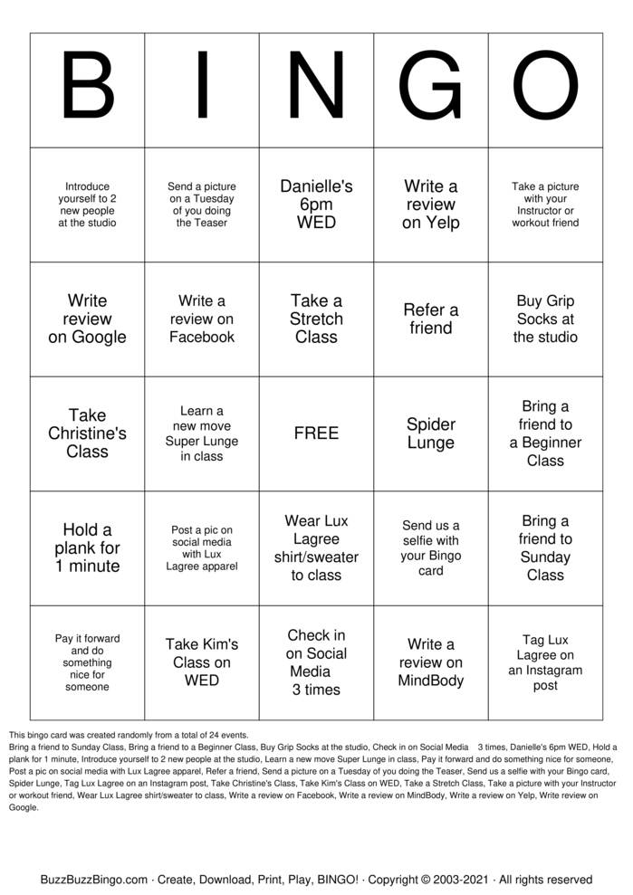 Download Free Pilates BINGO Bingo Cards