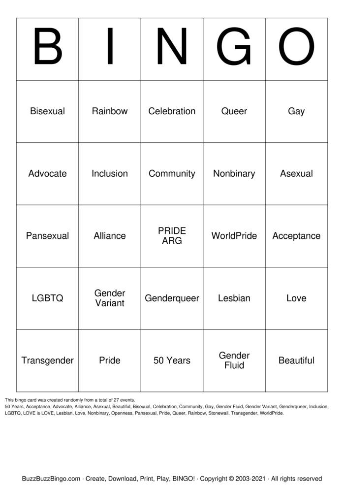 Download Free Pride Bingo Bingo Cards