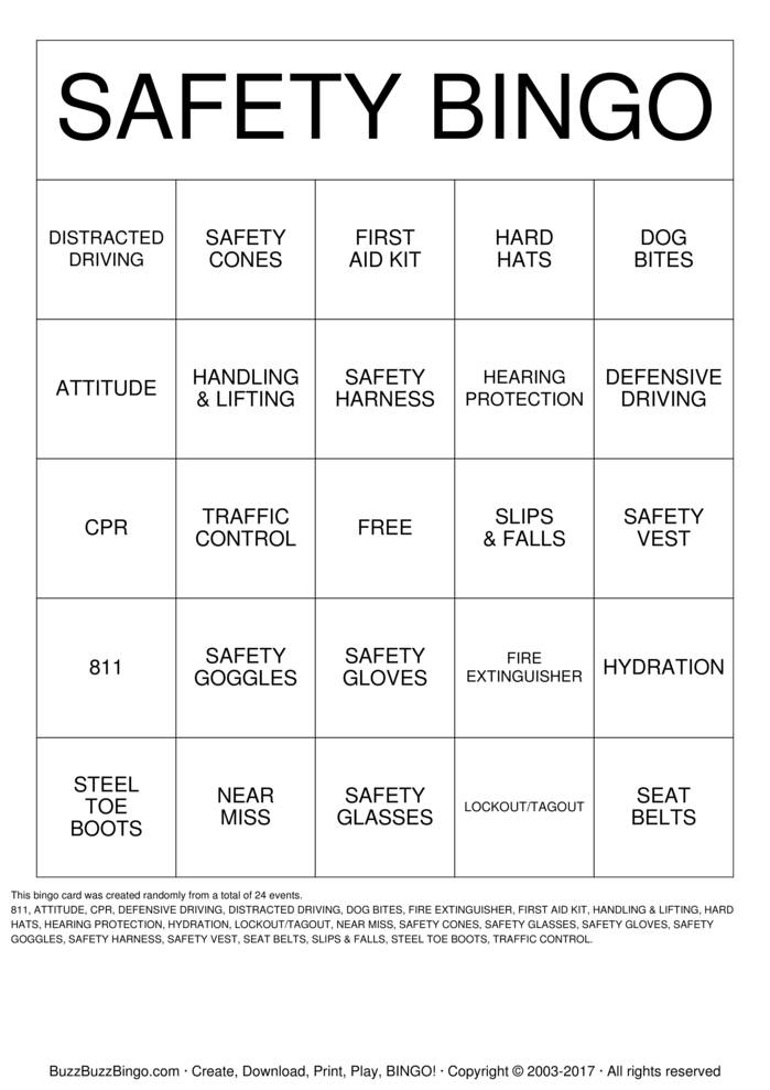 Download Free Safety Bingo Cards