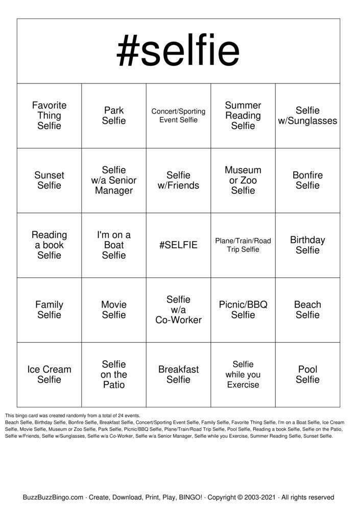Download Free Summer Selfie  Bingo Cards