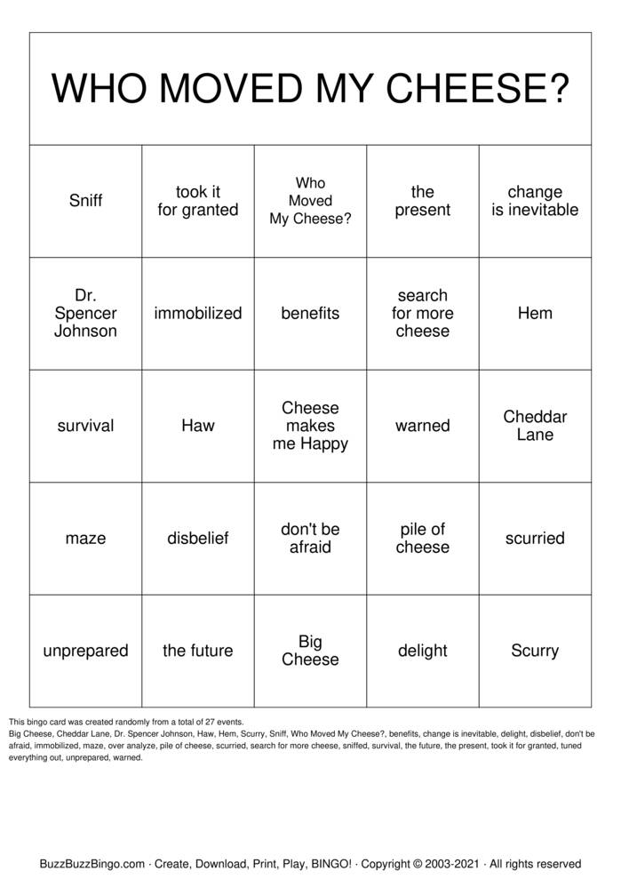 Download Free WHO MOVED MY CHEESE? Bingo Cards