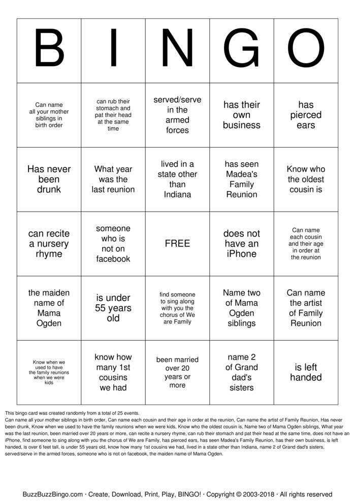 Download Free Cunningham Family Reunion  Bingo Cards
