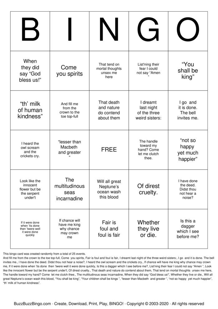 MacBeth  Bingo Card