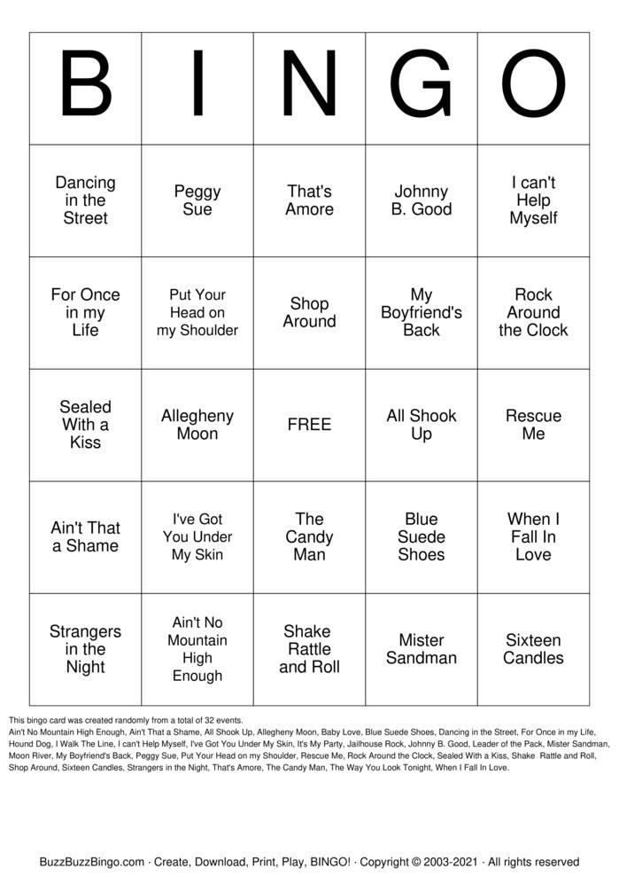 Download Free Musical Bingo Bingo Cards