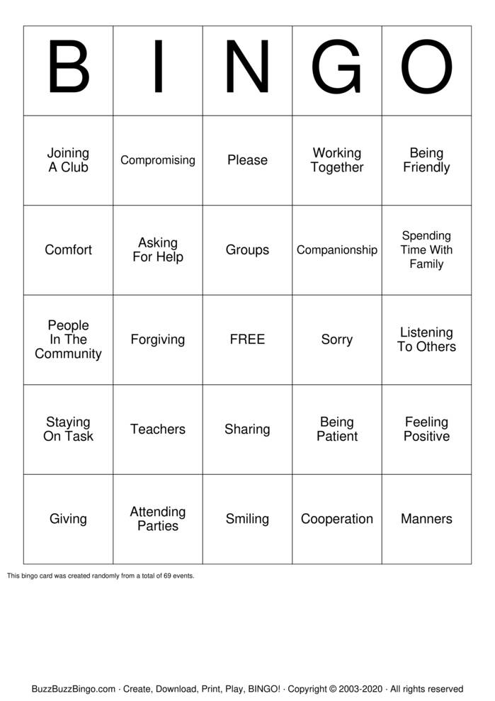 Download Free Social Skills  Bingo Cards