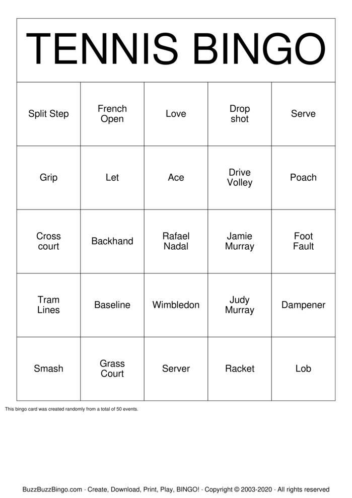 Download Free Tennis Bingo Bingo Cards