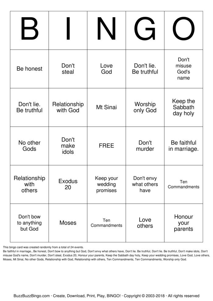 Download Free The 10 Commandments  Bingo Cards