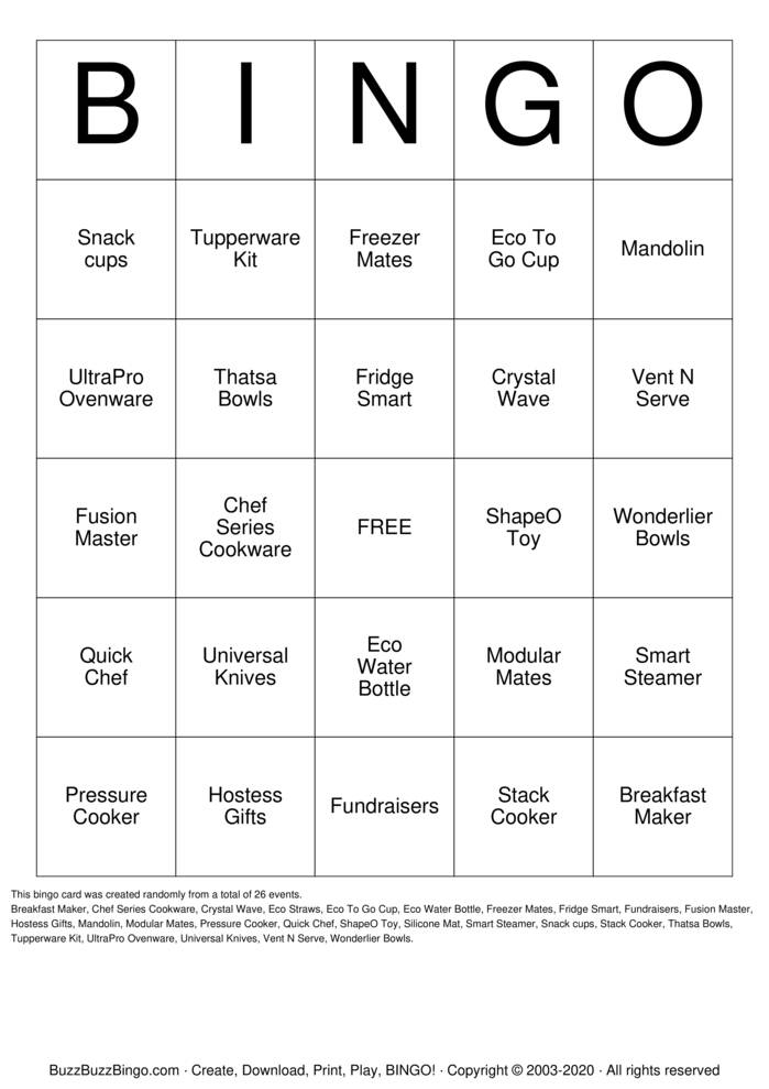 Download Free Tupperware Bingo Bingo Cards