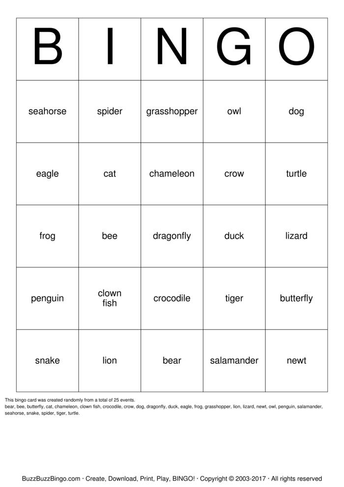 Animal Classification BINGO Bingo Card