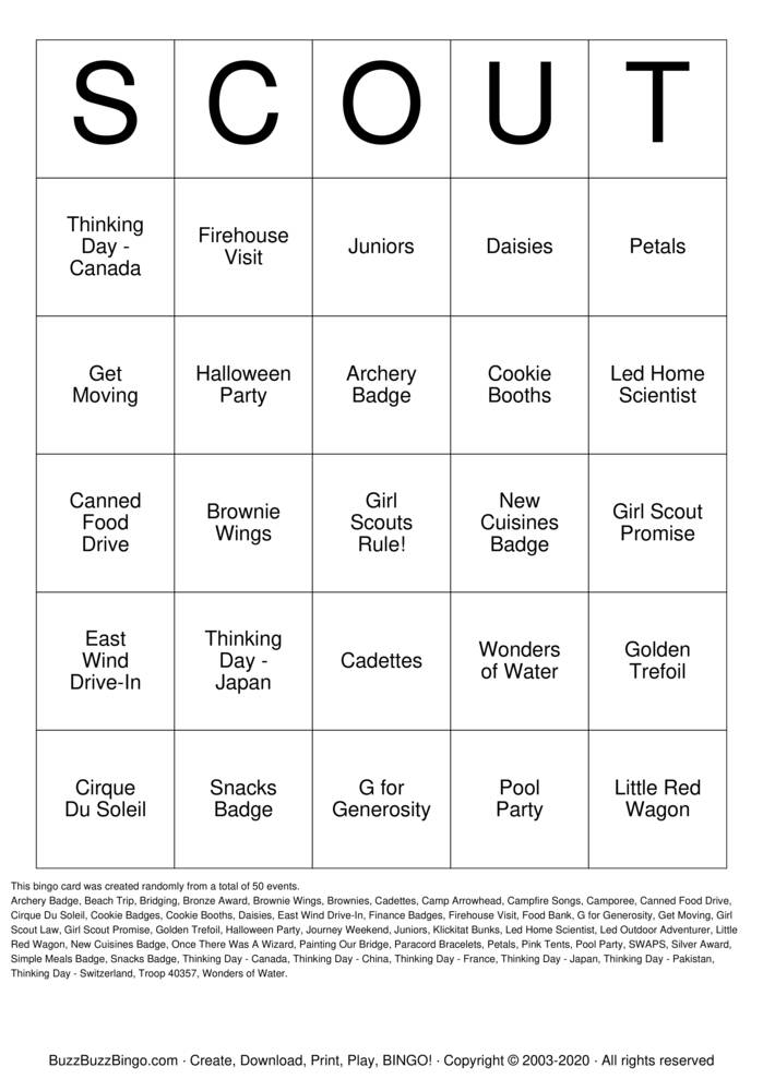 Download Free Girl Scout Bingo Cards