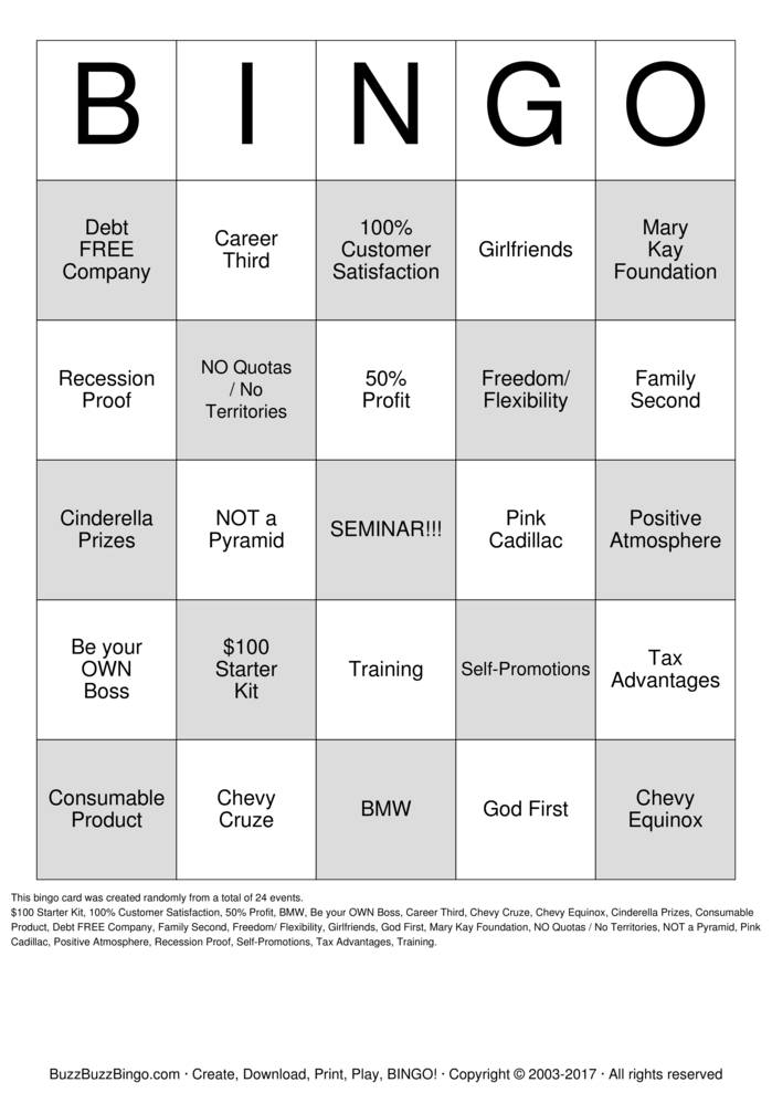 Mary Kay Cadillac >> Mary Kay Bingo Bingo Cards to Download, Print and Customize!