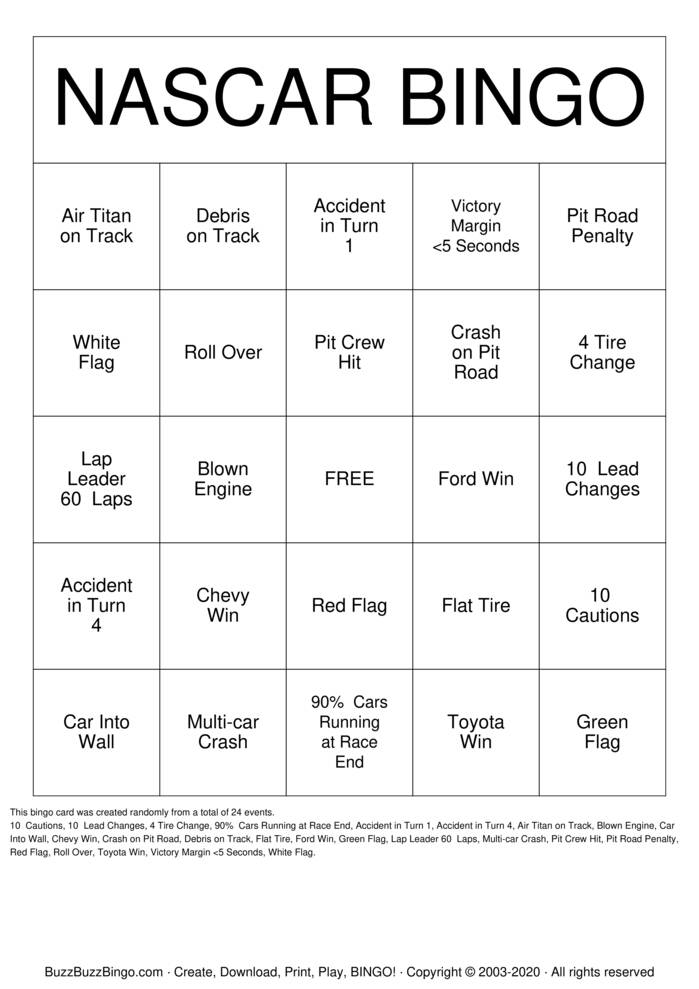 Download Free NASCAR Bingo Cards