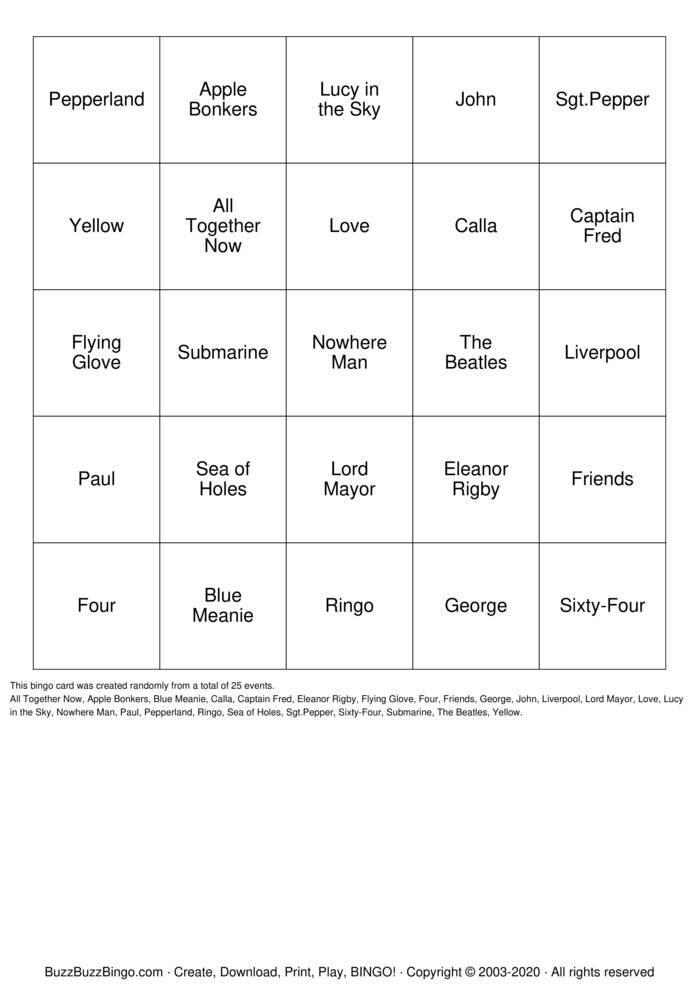 Download Free Ringo Bingo Cards