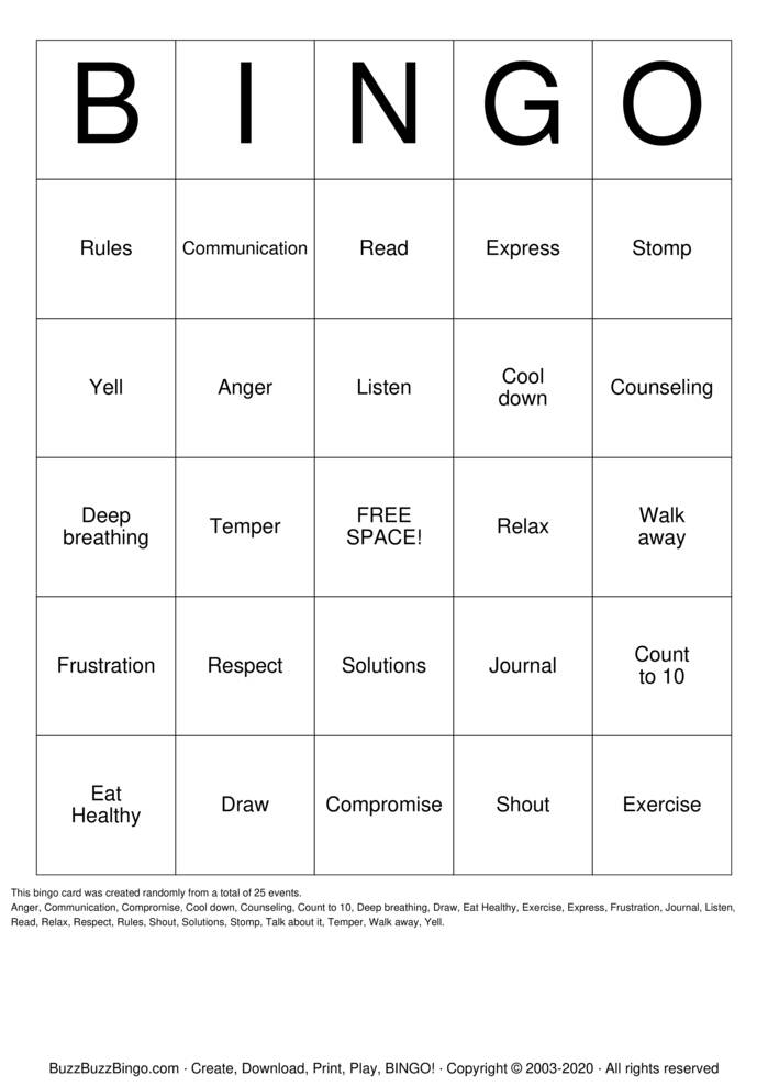 Download Free ANGER Bingo Cards