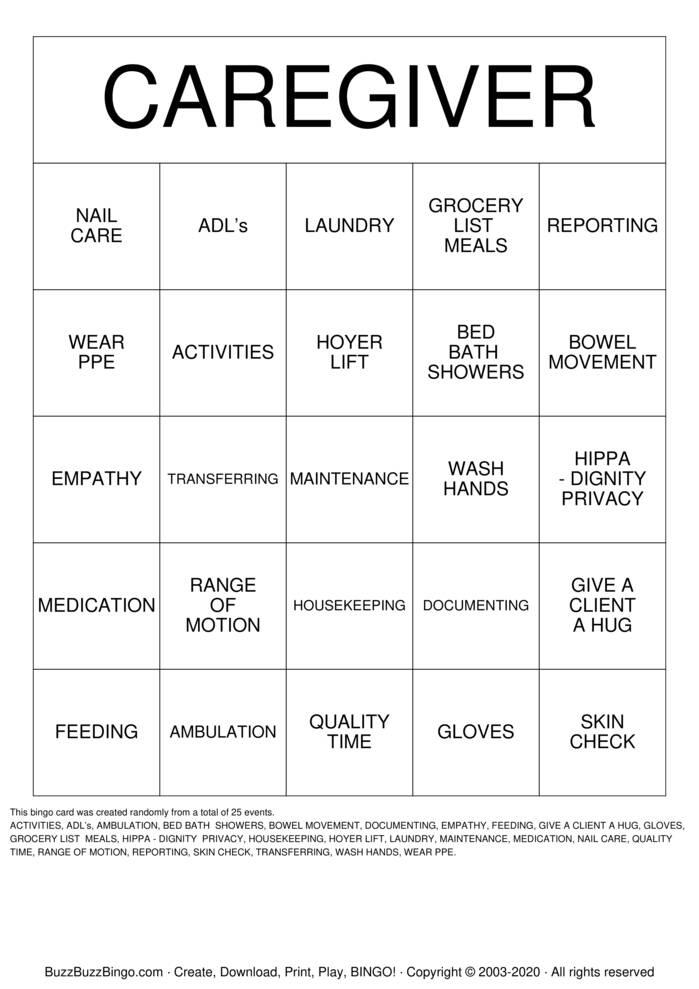 CAREGIVERS  Bingo Card