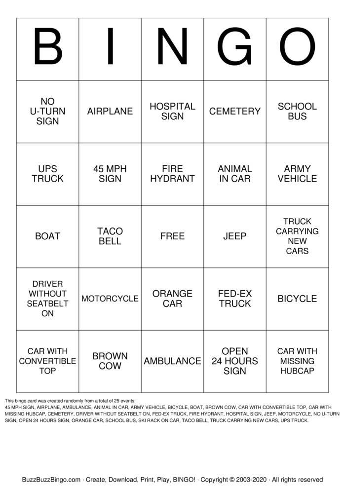 Download Free CARGO Bingo Cards