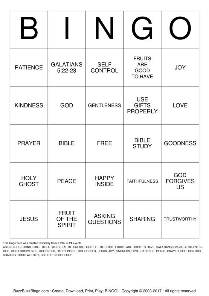 Download Free Fruit of the Spirit Bingo Cards