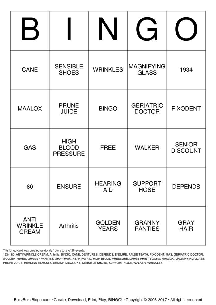 Happy 80th Birthday!! Bingo Card