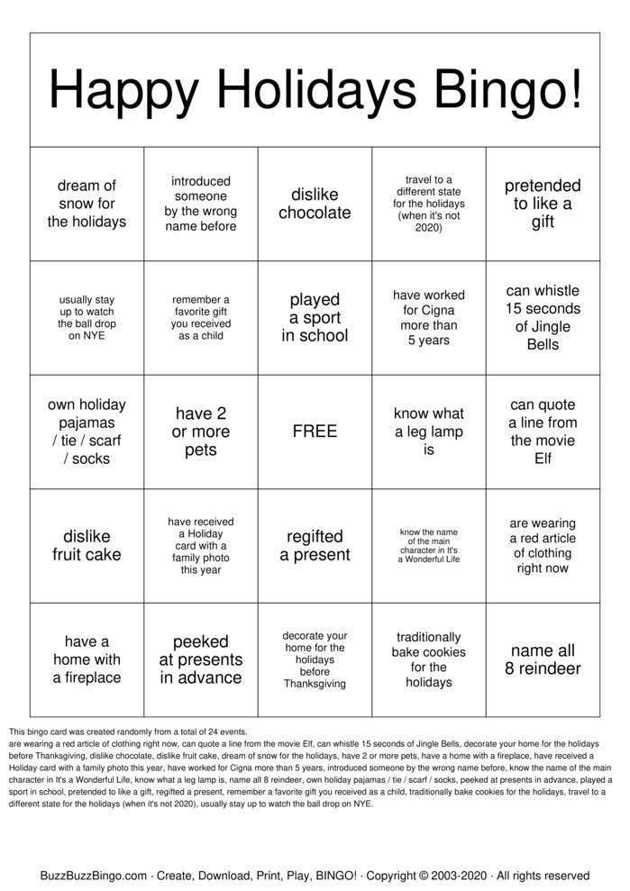 Download Free Happy Holiday Bingo! Bingo Cards