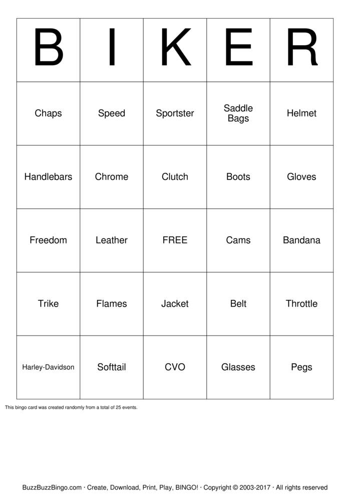 Download  Harley-Davidson Bingo Cards