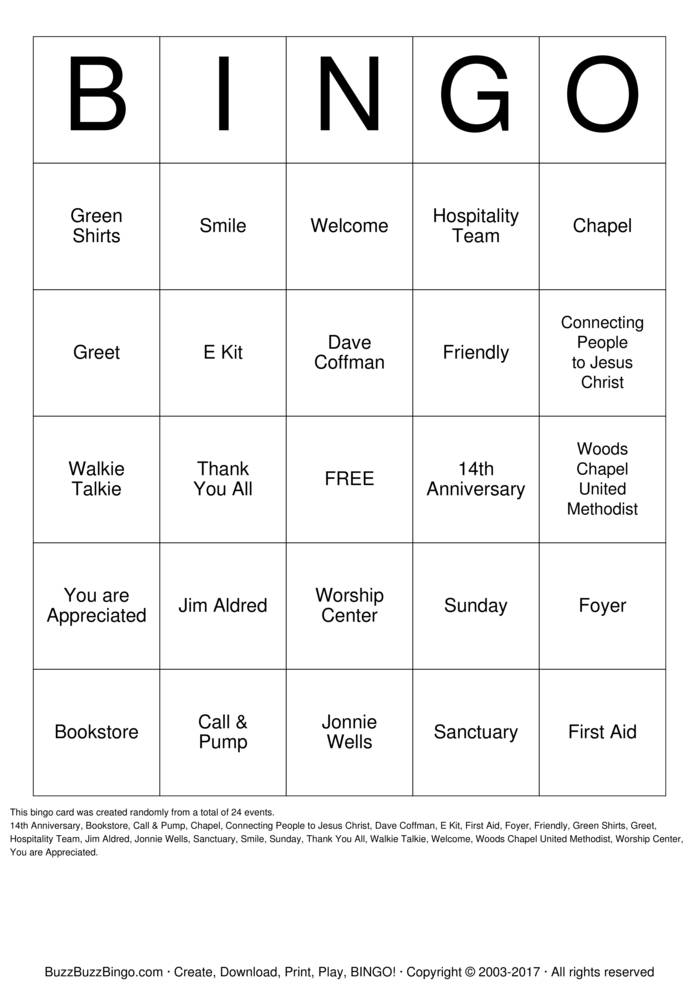 Download Hospitality Team Bingo Cards