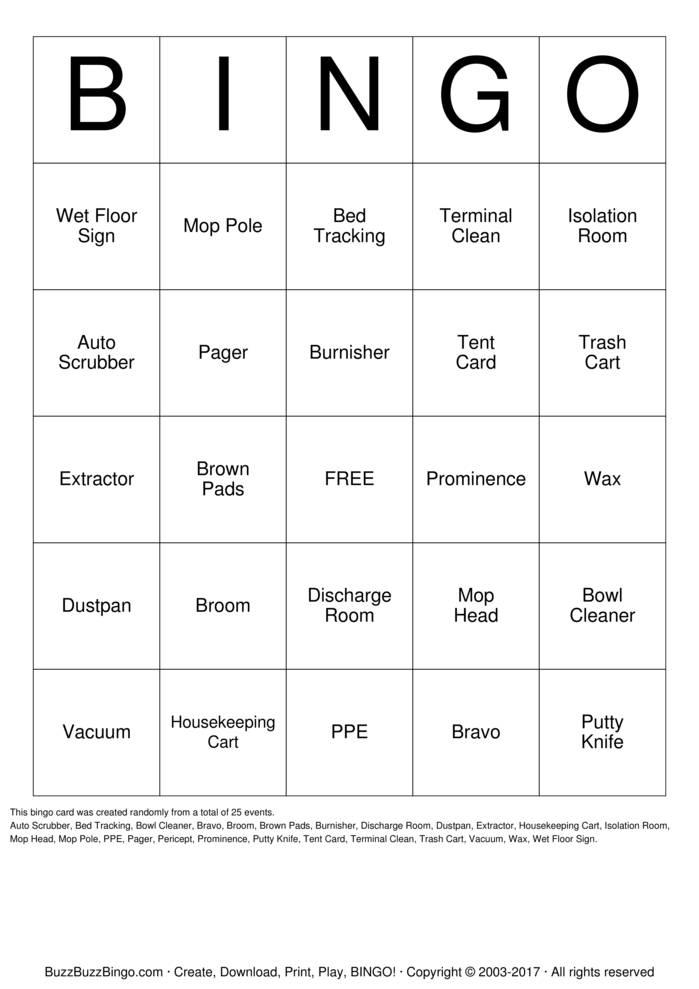 Download Free Housekeeping  Bingo Cards