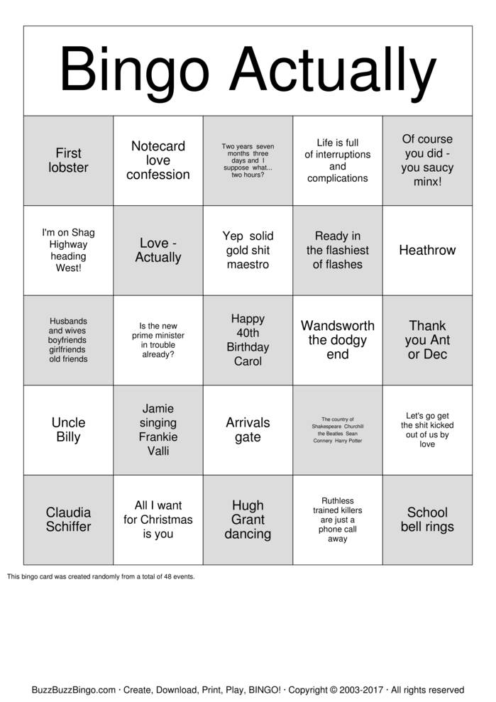 Download Love Actually Bingo Cards