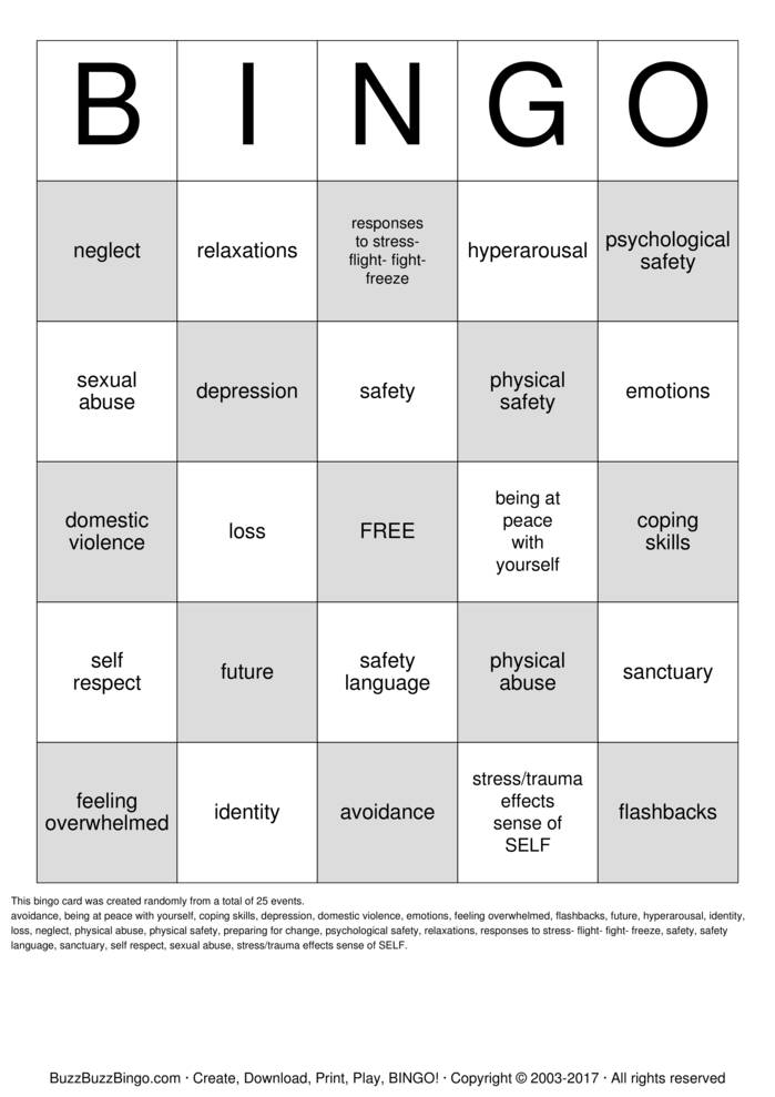 Download Free SELF BINGO Bingo Cards