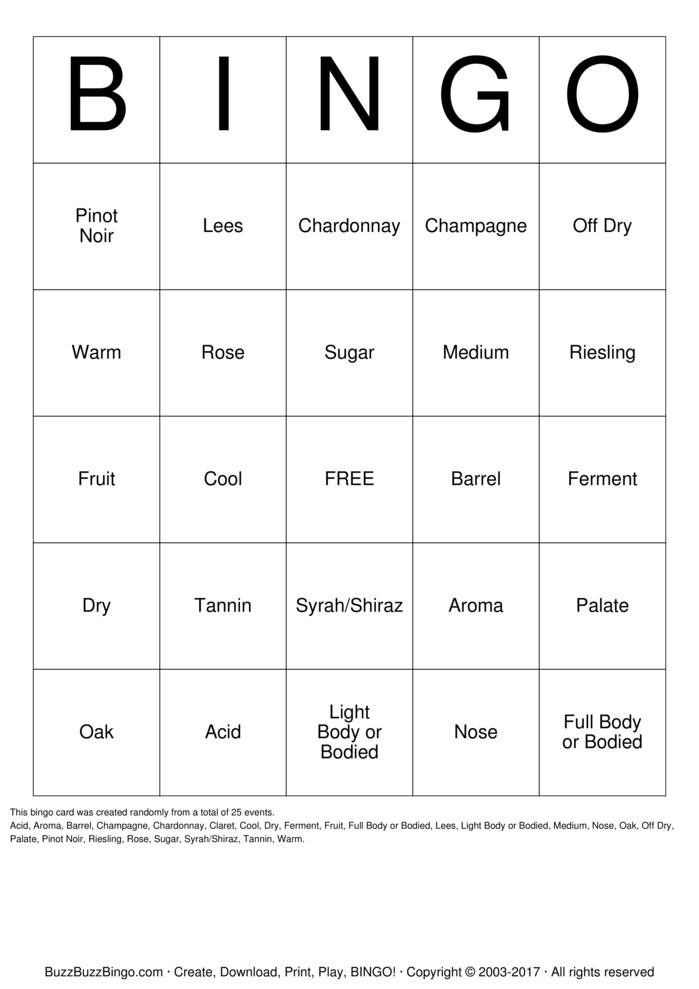 Download Free Wine-O Bingo Cards