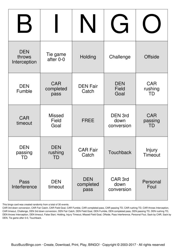 Download 2016 Superbowl CAR vs DEN Bingo Cards
