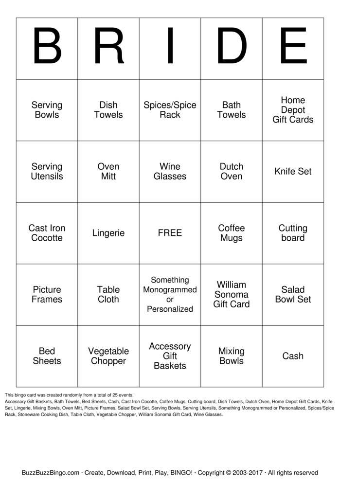 Download Free Bridal Shower Bingo Cards
