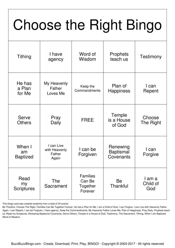 Download Choose the Right  Bingo Cards