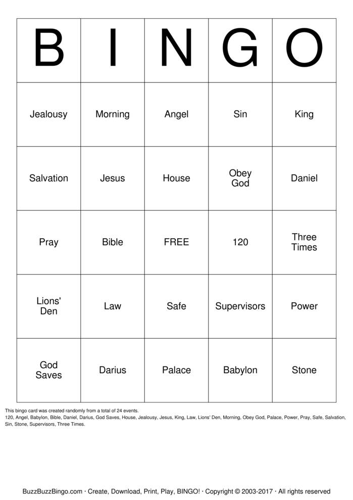 Download Daniel & The Lion's Den Bingo Cards