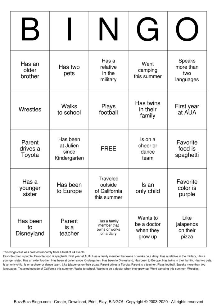 Download Free First Day of School Bingo Cards
