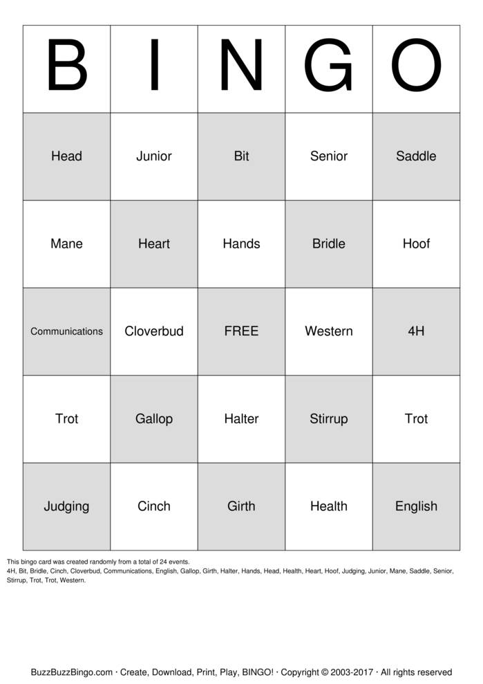 Download HORSE Bingo Cards
