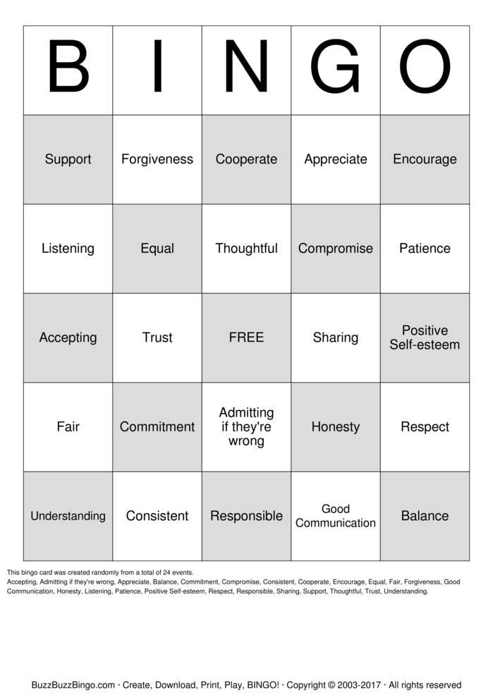 Download Free Healthy Relationships Bingo Cards