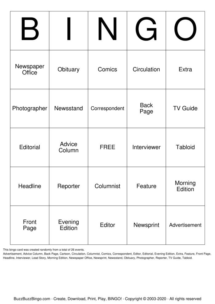 Download Free Newspaper Bingo Cards