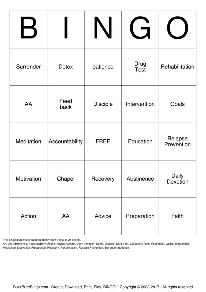 Substance Abuse Recovery Bingo Card