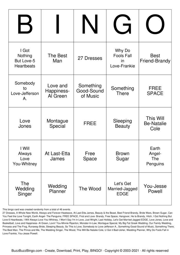 Download Free Team Montague Song and Movie Bingo Bingo Cards