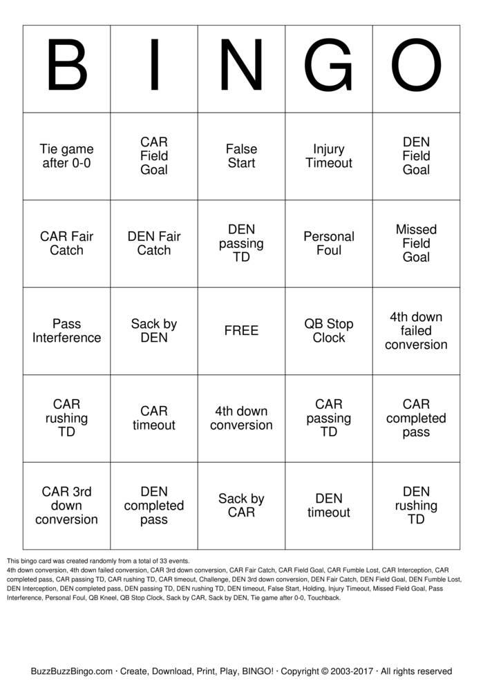 2016 Superbowl CAR vs DEN Bingo Card