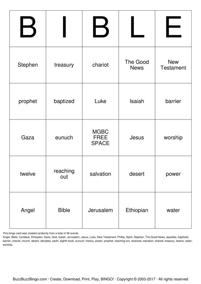 Download Acts Bible Bingo Cards