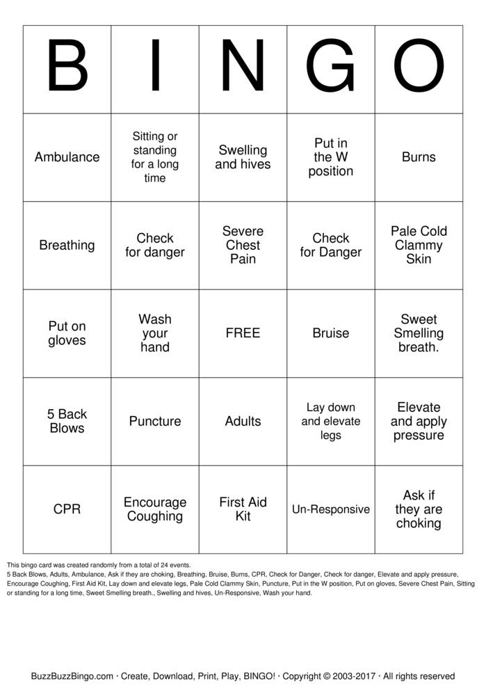 First Aid Bingo Bingo Cards To Download Print And Customize